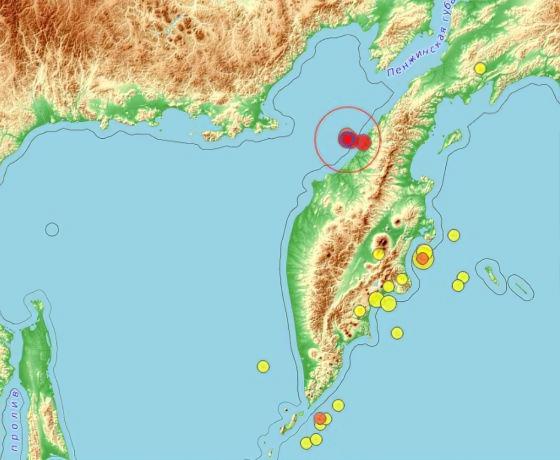 Землетрясение магнитудой 5.2 произошло на Камчатке