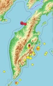 Землетрясение у берегов Камчатки на карте