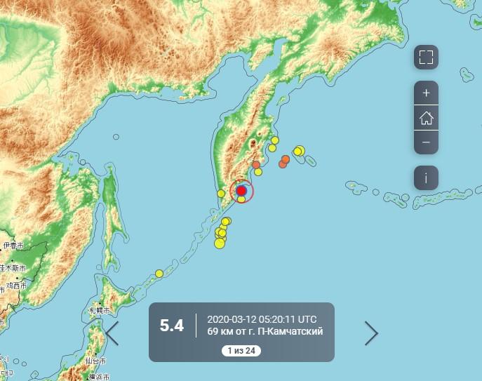 Сильное землетрясение произошло на Камчатке